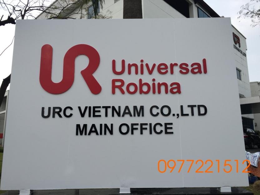 Làm bảng hiệu công ty nền alu chữ nổi mica tại khu công nghiệp VSIP Bình Dương