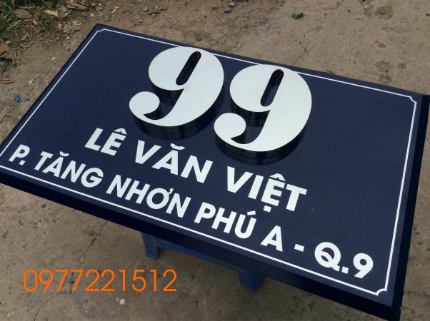 Làm bảng số nhà inox tại Quận 9, TPHCM