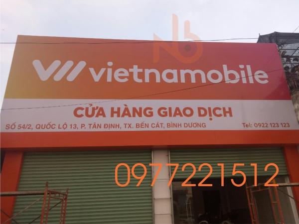 Bảng Hiệu Quảng Cáo Decal Cửa Hàng Điện Thoại Vietnammobile tại Bình Dương